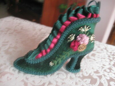"""4 1/2""""green Velour Victorian Shoe Ornament Beads Stitching Satin Crimped Flowers"""
