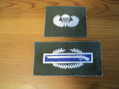 Original Vietnam War In-Country Hand-Embroidered, Non-Subdued CIB and Jumpwings