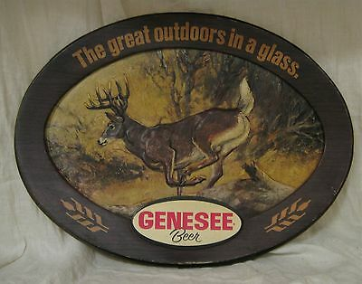 """1970s Genesee Beer Plastic Bar Sign """"Great Outdoors in a Glass"""" w/ Buck Deer 22"""""""