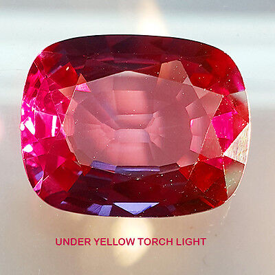 Twinkling Colour Change 40.15 Ct Alexandrite Fancy Cushion Shape Lab Created