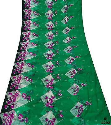 Green Sari Vintage Floral Print Indian Decor Silk Blend Fabric Veil Saree Si2292