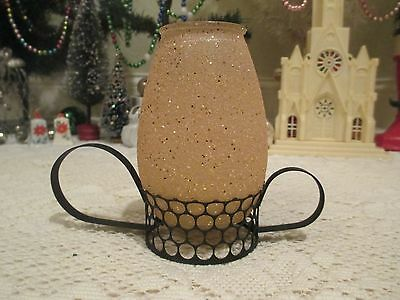 Vintage Christmas Candle/laurence Mini Scented Hurricane Candle--Metal Stand