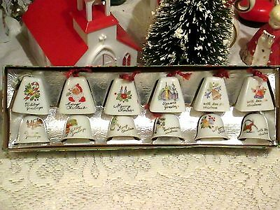Vtg Xmas Japan Porcelain Bell Ornaments--Set Of 12--Great Pictures--Must See!!