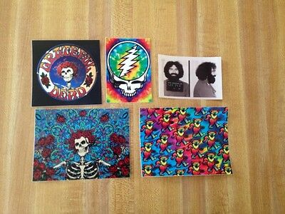 5 Pack Grateful Dead Stickers. Jerry Garcia. Steal Your Face.