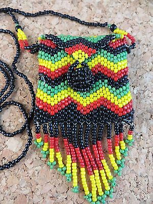Estate Find Vintage Native American Beaded Coin Purse Pouch Black Green Yellow
