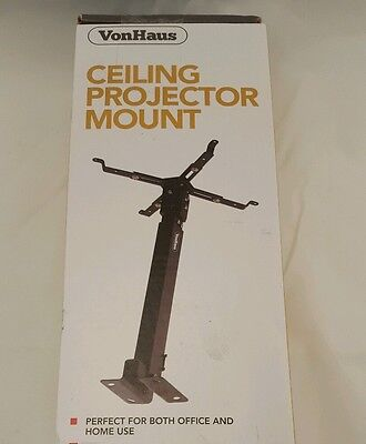 """Vonhaus Universal Ceiling Projector Mount New In Box, Height To 25.5"""" 30 Degree"""