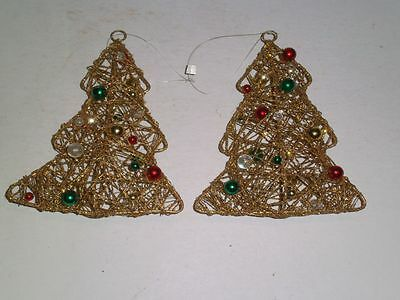 """Vtg Christmas Tree Ornaments Wire Wrapped Gold Glitter 3-D w/glass balls 5-1/2"""""""
