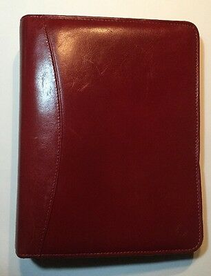"Red Full Grain Leather Franklin Covey Day Planner Binder 1.5"" Rings"