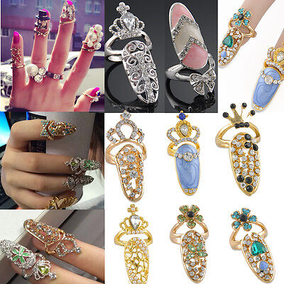 Bowknot Punk Crystal 3D Nail Art Midi Above Knuckle Band Finger Tip Ring