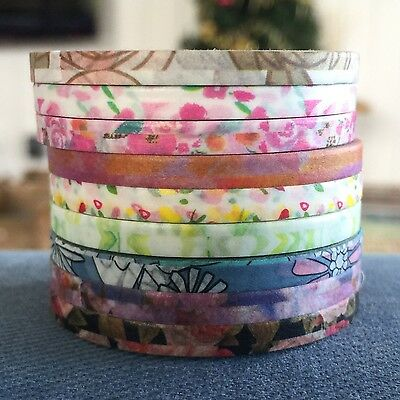 Washi Tape Thin Skinny Beautiful Botanicals 9 Roll Set Each 4Mm X 10 Mtrs Plan