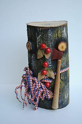 """HTF  Large 12"""" German Log Candy Container Biscuit George Washington"""