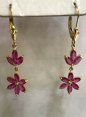 14k Solid Yellow Gold Dangle Leverback Earrings 3.25CT Natural Ruby Marquise Cut