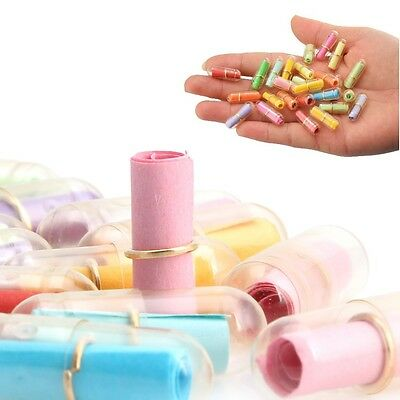100/200Pcs Message in a Bottle Message Capsule Letter Cute Love Clear Pill Gift