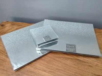 Set of 8 Glass Silver Glitter Mirror 4 Placemats and 4 Coasters Kitchen Dining