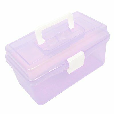 Plastic Handle 2 Layer Hardware Tools Storage Box, Clear Purple P5H9 13HE