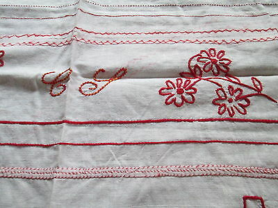 Antique hand embroidered sampler in red work -schoolwork monogram/Belguim