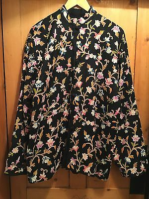 Vintage Indian Vintage Wool/cashmere Embroidered Kashmiri Floral Coat Jacket L