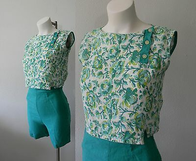 Vintage 1950s 50s High Waisted Short Set | Playsuit Pinup Floral Print