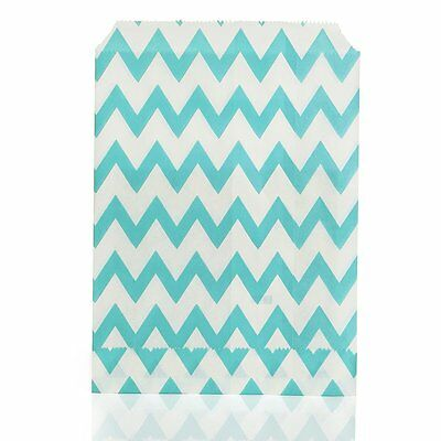 25 X Stripe Paper Party Bags Snack Candy Bags Blue W3B7 13HE