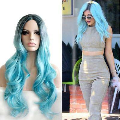 Womens Gradient Grey Blue Synthetic Curly Long Wavy Full Wigs Cosplay Party Hair