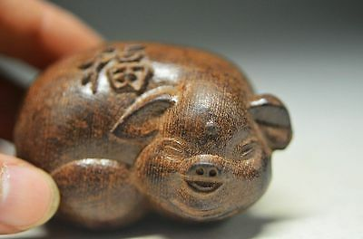 Exquisite agilawood Handmade lucky pig statue