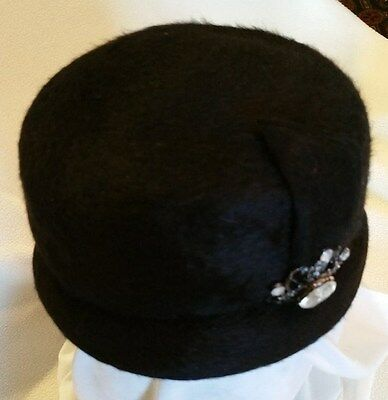 Vintage Lady's Black Merrimac by Walter King Hat - EXCELLENT Condition!