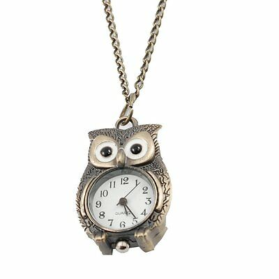 SODIAL(R) Bronze Tone Night Owl Pendant Quartz Necklace Watch For Lady U2R7 13HE