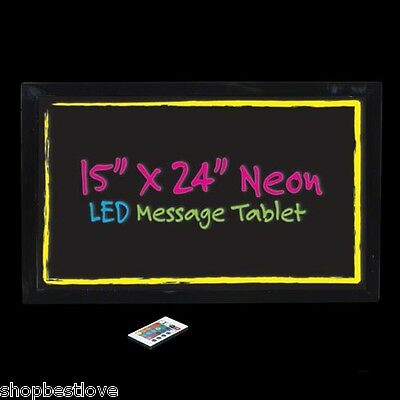 Large Writing Neon LED Message Tablet - 15x24 w/ wireless remote