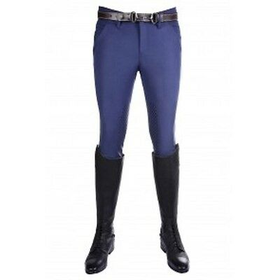 HKM Mens Intenso Silicone Knee Patch Breeches | Deep Blue | UK30/EU44