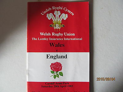 Wales v England, Rugby Union. Cardiff 1985.