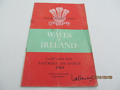 Wales v Ireland. Rugby Union. March 1959.