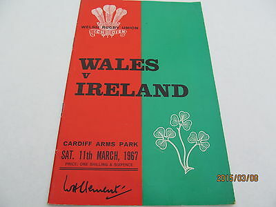 Wales v Ireland. Rugby Union. March 1967.