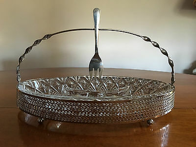 Vintage Divided Glass Serving Dish with Handle and Fork