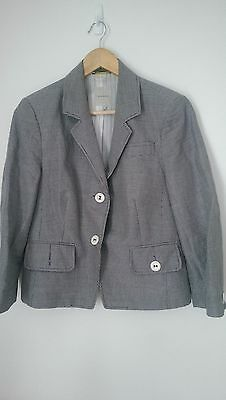 Anna Thomas black/white checked 3/4 sleeve blazer, cute buttons, size 14