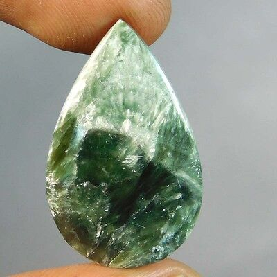14.55Cts  Fabulous Power  100% Natural GREEN SERPHANITE PEAR 28X17X4 Cabochon