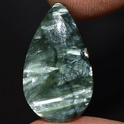6.65Cts Genuine  100% Natural  GREEN SERAPHINITE PEAR 21X12  Loose Gemstone