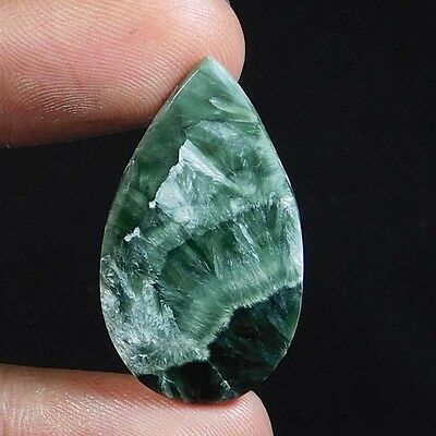 21.05Cts 100% NATURAL RARE Green SERPHINITE PEAR 35X19 CABOCHON TOP GEMSTONES