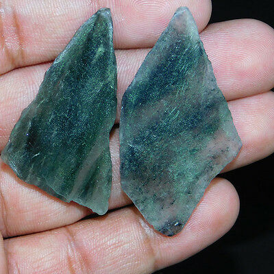 93.75Cts WONDERFULL GREEN RUTILE PAIR MIX SIZE TOP QUALITY SLICE ROUGH