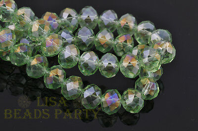 30pcs 10x7mm Rondelle Faceted Loose Crystal Glass Beads Findings Lt Green AB
