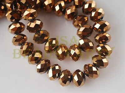 50pcs 8X6mm Rondelle Faceted Crystal Glass Spacer Beads Bronze Jewelry Making