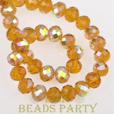 Hot 20pcs 10X7mm Crystal Glass Rondelle Faceted Loose Beads Topaz Half AB