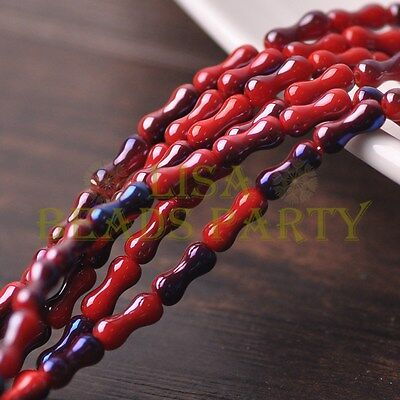 Hot 68~71pcs/Strand 8X3.5mm Bone Shape Spacer Glass Beads Opaque Red&Blue