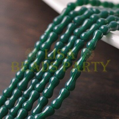 Hot 68~71pcs/Strand 8X3.5mm Bone Shape Spacer Glass Beads Opaque Peacock Green