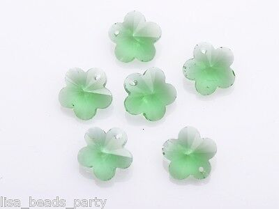 10pcs Light Green Faceted Flower Crystal Glass Beads Loose Charm Pendants 14mm
