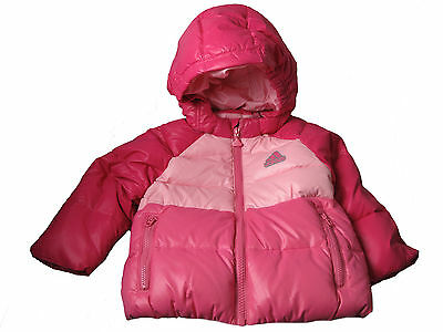 adidas padded baby girls pink cerise lhooded duck down padded warm jacket coat
