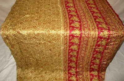 Cream Maroon Pure Silk 4 yard Vintage Sari Saree Pattern Patterns Casuals #OEDSG