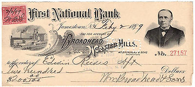 1899 First National Bank Check Jamestown New York *Great Vignette*