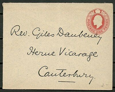 GB 1910s POSTAL COVER 1d, TO HERNE VICARAGE CANTERBURY -CAG 041016