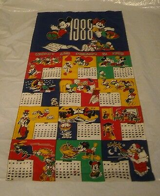 1988 Mickey Minnie Mouse and Friends Cloth 12 Month Calendar Donald Duck Goofy