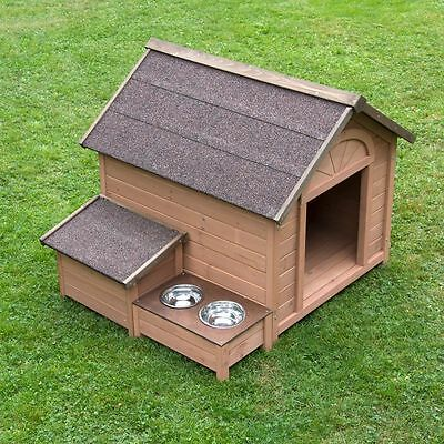 Outdoor Large House Dog Pet Kennel Bed Weather Resistant Feeding Area Open Roof
